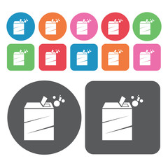 Box of detergent icons set. Round colourful 12 buttons. Vector i