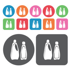 Bottle of bleach icons set. Round colourful 12 buttons. Vector i