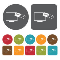 E-mail icons set. Round and rectangle colourful 12 buttons. Vect