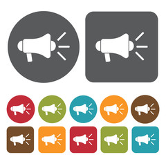 Megaphone icons set. Round and rectangle colourful 12 buttons. V