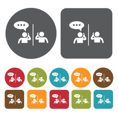 People talking on phone icons set. Round and rectangle colourful