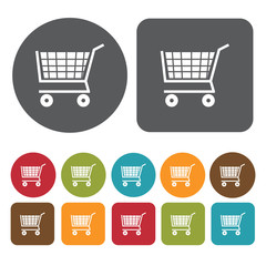 Grocery cart icons set. Round and rectangle colourful 12 buttons