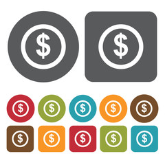 Dollar sign in circle icons set. Round and rectangle colourful 1