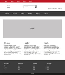 Website design template. Simple landing page