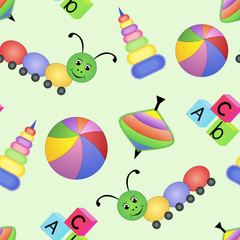 Children bright seamless pattern with toys