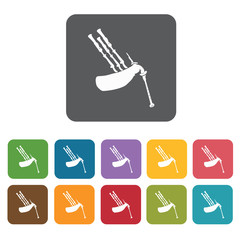 Bagpipe  icons set. Rectangle colourful 12 buttons. Vector illus