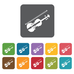 Violin icons set. Rectangle colourful 12 buttons. Vector illustr