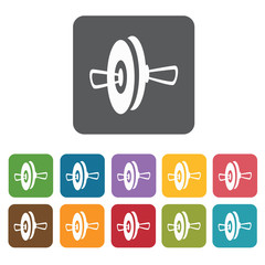 Cymbals icons set. Rectangle colourful 12 buttons. Vector illust