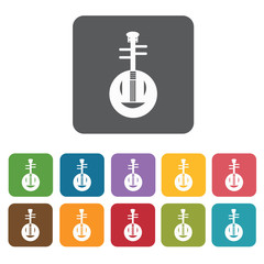 Sitar icon icons set. Rectangle colourful 12 buttons. Vector ill