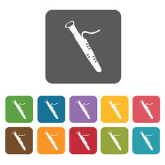 Saxophones icons set. Rectangle colourful 12 buttons. Vector ill