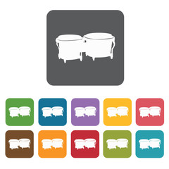 Bongo icons set. Rectangle colourful 12 buttons. Vector illustra
