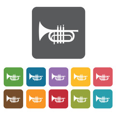 Pocket trumpet icons set. Rectangle colourful 12 buttons. Vector