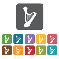 Harp icons set. Rectangle colourful 12 buttons. Vector illustrat