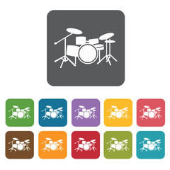 Drum set icons set. Rectangle colourful 12 buttons. Vector illus