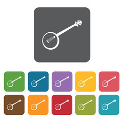 Banjo icons set. Rectangle colourful 12 buttons. Vector illustra