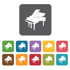 Piano icons set. Rectangle colourful 12 buttons. Vector illustra