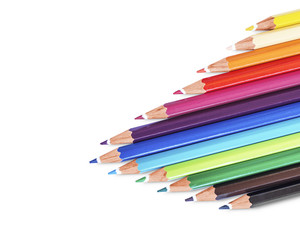 Color pencils isolated on white background, clipping path