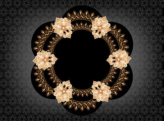 figural frame in oriental style on a black background
