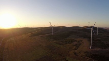 Landscape with turbines at sunset,aerial