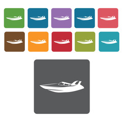 Speed boat icons set. Rectangle colourful 12 buttons. Vector ill