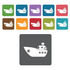 Small boat icons set. Rectangle colourful 12 buttons. Vector ill