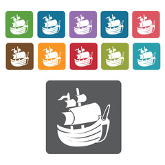 Pirate ship icons set. Rectangle colourful 12 buttons. Vector il