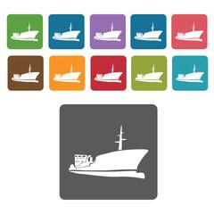 Cargo ship icons set. Rectangle colourful 12 buttons. Vector ill