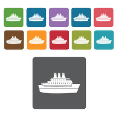 Cruise ship icons set. Rectangle colourful 12 buttons. Vector il