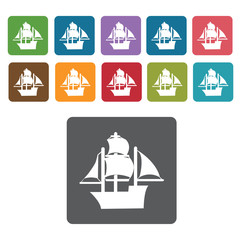 Ancient ship icons set. Rectangle colourful 12 buttons. Vector i