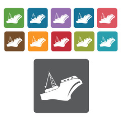 Crane ship icons set. Rectangle colourful 12 buttons. Vector ill