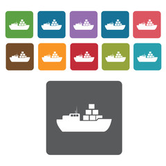 Cargo ship with containers icons set. Rectangle colourful 12 but