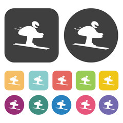 Skiing icons set. Round and rectangle colourful 12 buttons. Vect