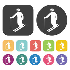 Preparing to ski icons set. Round and rectangle colourful 12 but