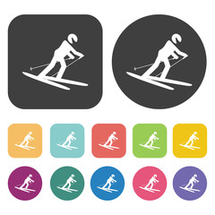 Ski downhill icons set. Round and rectangle colourful 12 buttons