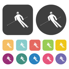 Silhouette of the skier icons set. Round and rectangle colourful
