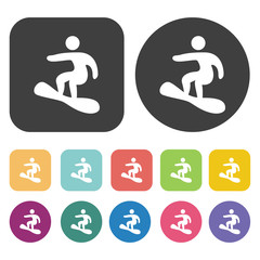 Snowboarding icons set. Round and rectangle colourful 12 buttons