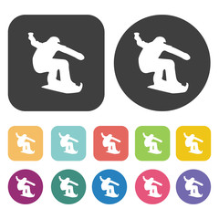Skier in high mountain icons set. Round and rectangle colourful