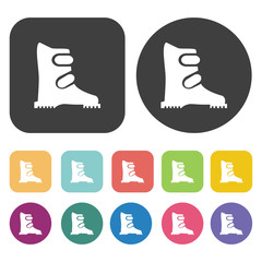Winter boots icons set. Round and rectangle colourful 12 buttons