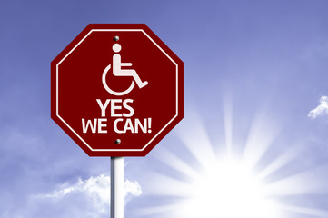 Yes We Can! with Disabled Icon sign with sun background
