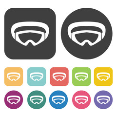Snow googles icons set. Round and rectangle colourful 12 buttons