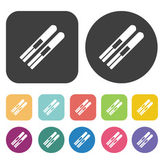 Snowboard icons set. Round and rectangle colourful 12 buttons. V