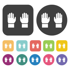 Snow gloves icons set. Round and rectangle colourful 12 buttons.