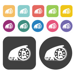Cannon icons set. Round and rectangle colourful 12 buttons. Vect