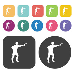 Soldier shooting icons set. Round and rectangle colourful 12 but