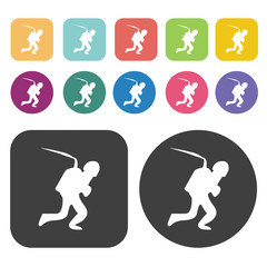 Walking soldier icons set. Round and rectangle colourful 12 butt