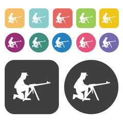 Soldier on machine gun icons set. Round and rectangle colourful