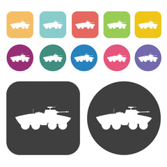 Soviet tank icons set. Round and rectangle colourful 12 buttons.