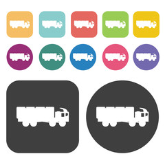 Military truck icons set. Round and rectangle colourful 12 butto