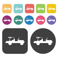 Jeep with machine gun icons set. Round and rectangle colourful 1