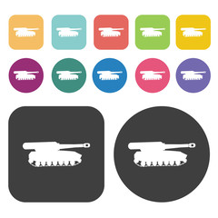 Military tank icons set. Round and rectangle colourful 12 button